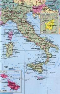 Подробная карта Италии на русском языке