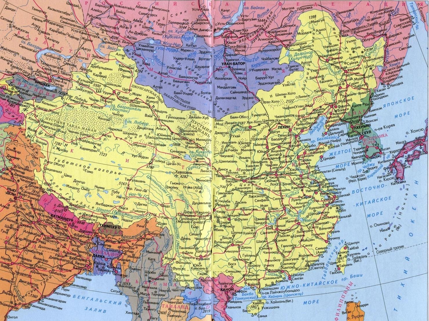 Карта китая подробная на русском