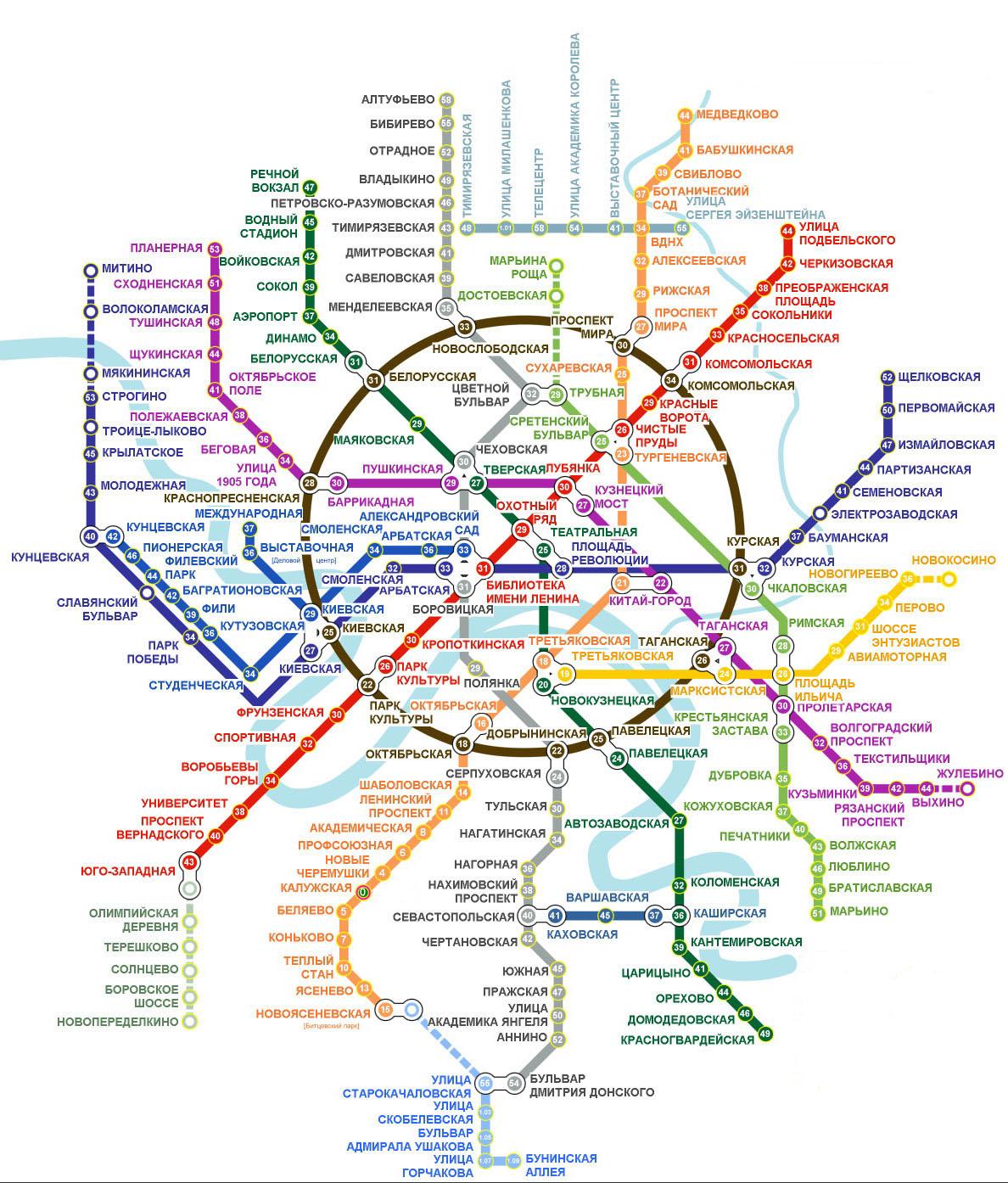 схема метро москвы со стрелками