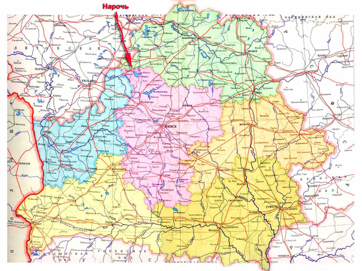 Озеро Нарочь на карте Беларуси