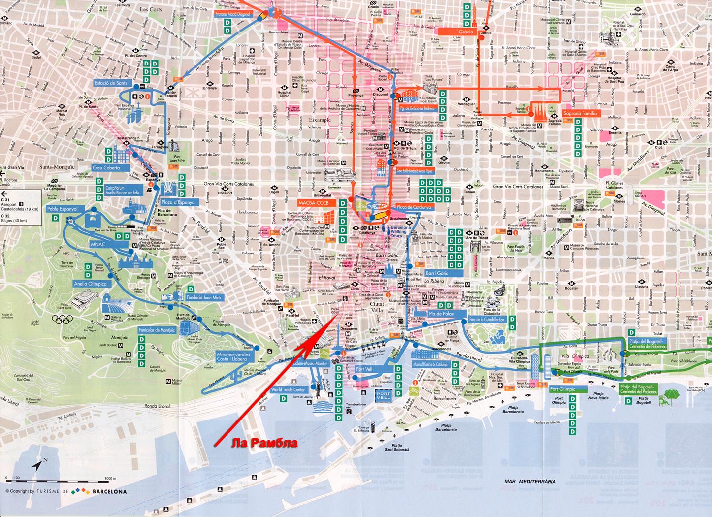 Улица Рамбла на карте Барселоны