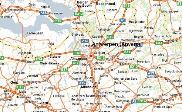 Карта расположения города Антверпен