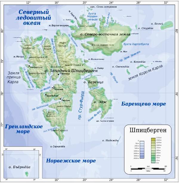 Остров Шпицберген на карте