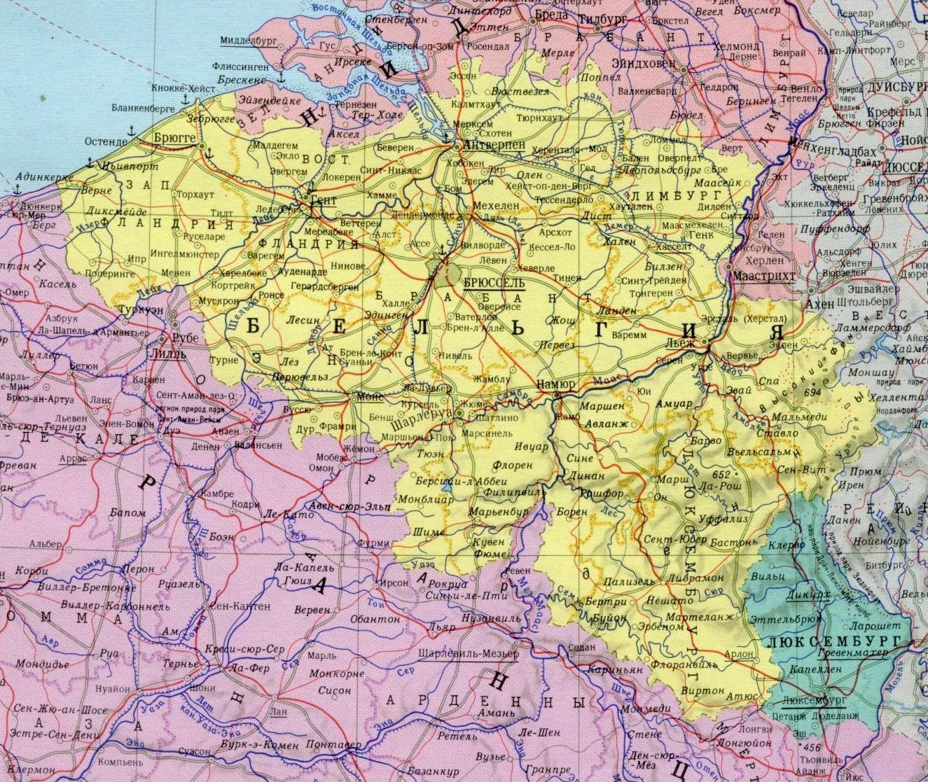 Карта Бельгии с городами