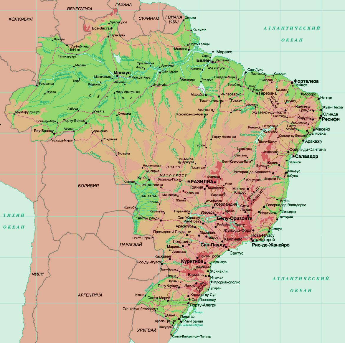 Карта Бразилии с городами