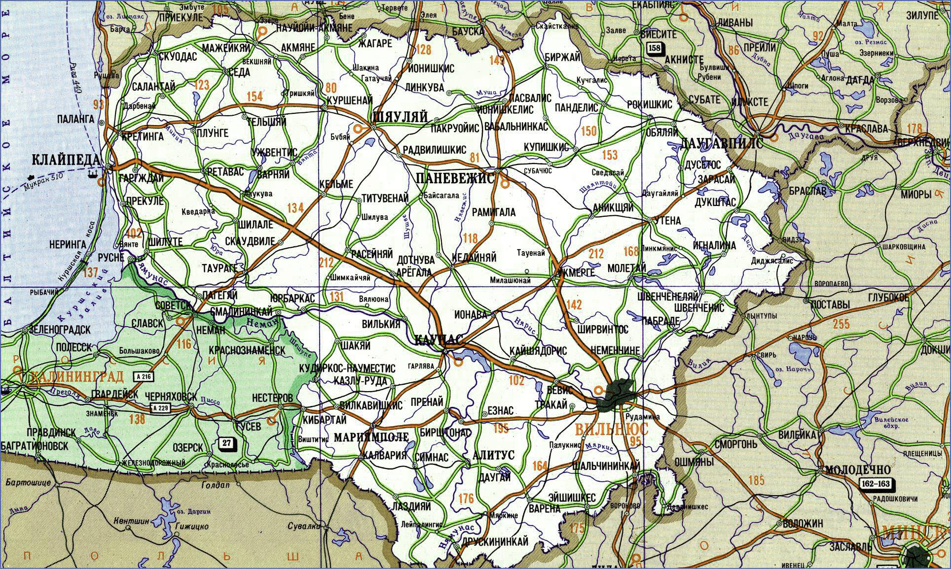 Карта Литвы с городами на русском языке