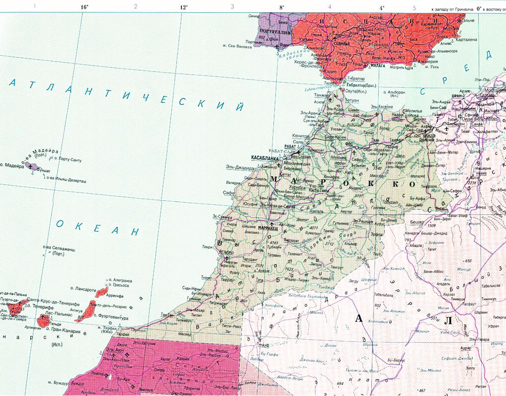 Карта Марокко с курортами на русском языке
