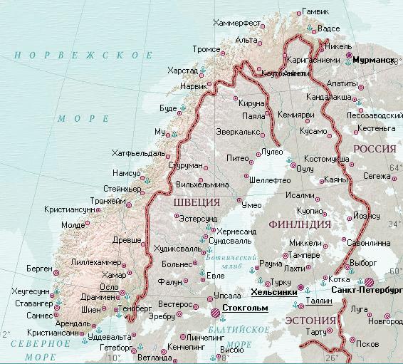 Карта Норвегии на русском языке с городами