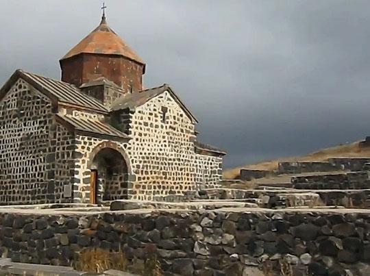 Монастырь на побережье озера Севан
