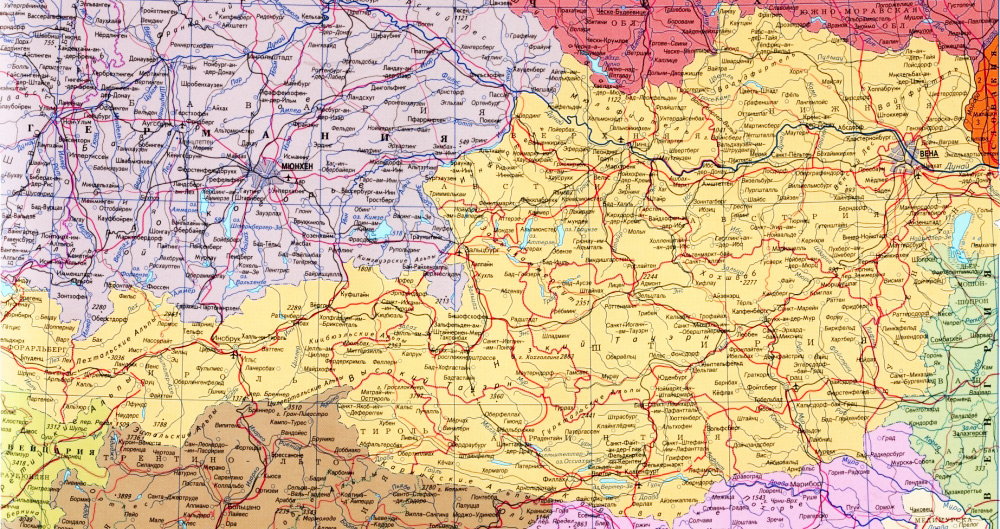 Карта Австрии с городами на русском языке