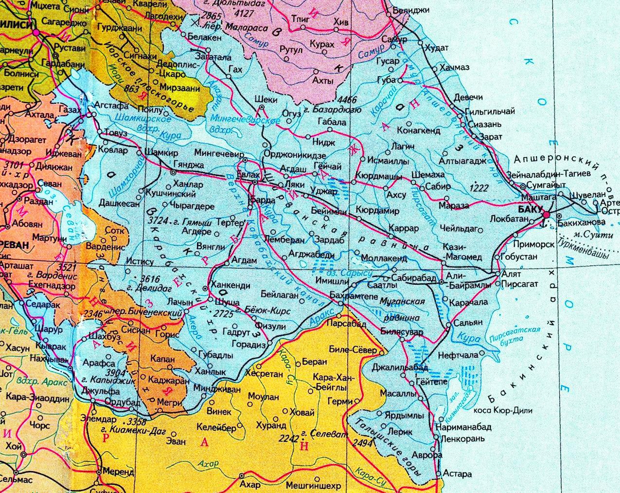 Карта Азербайджана с городами на русском языке