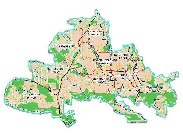 Карта Донецка по районам