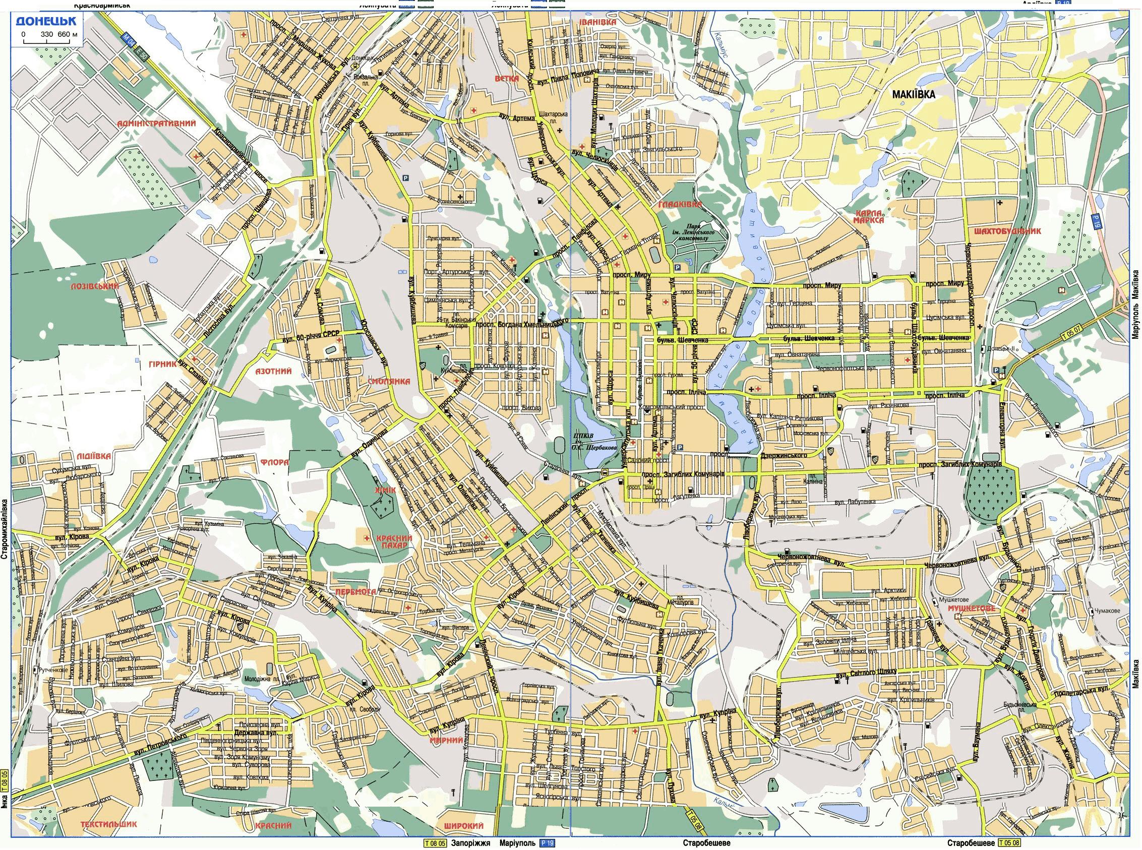 Карта Донецка с улицами