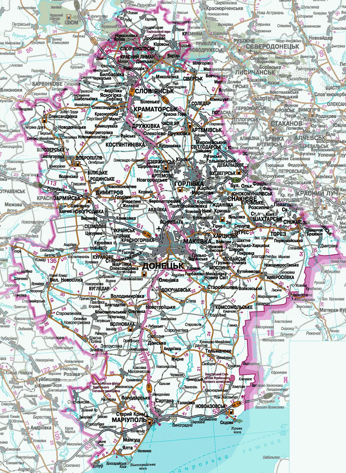 Карта Донецкой области с городами