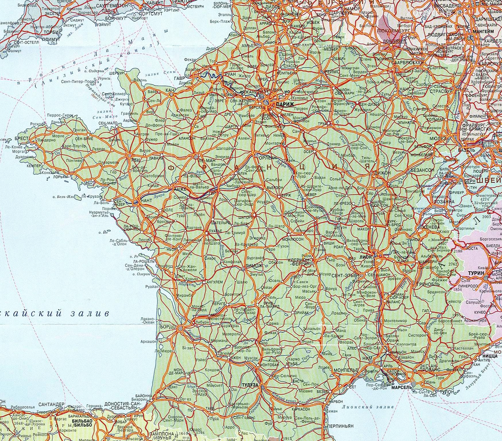 Карта Франции с городами