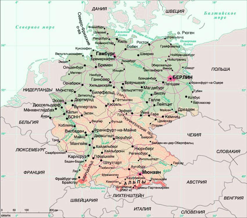 Карта Германии с городами на русском языке