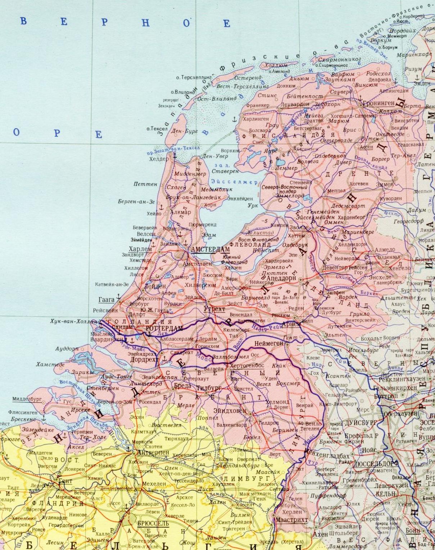 Карта Голландии с городами на русском языке