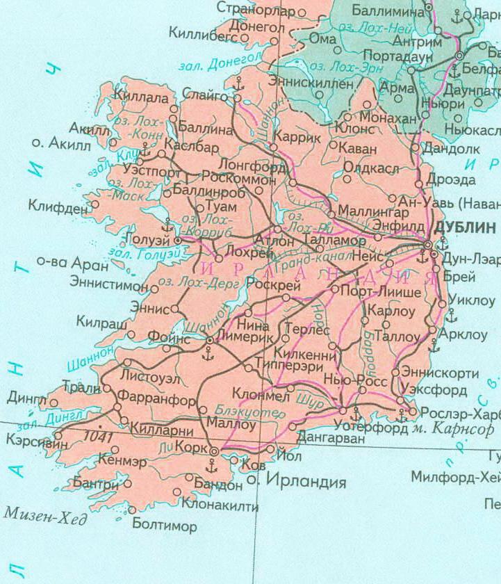 Карта Ирландии с городами на русском языке