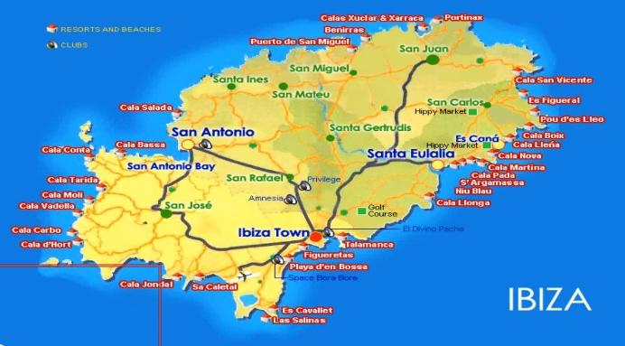 Карта Ибицы с клубами