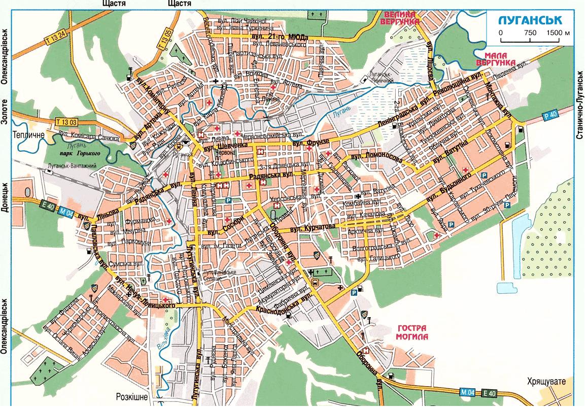 Карта Луганска с улицами