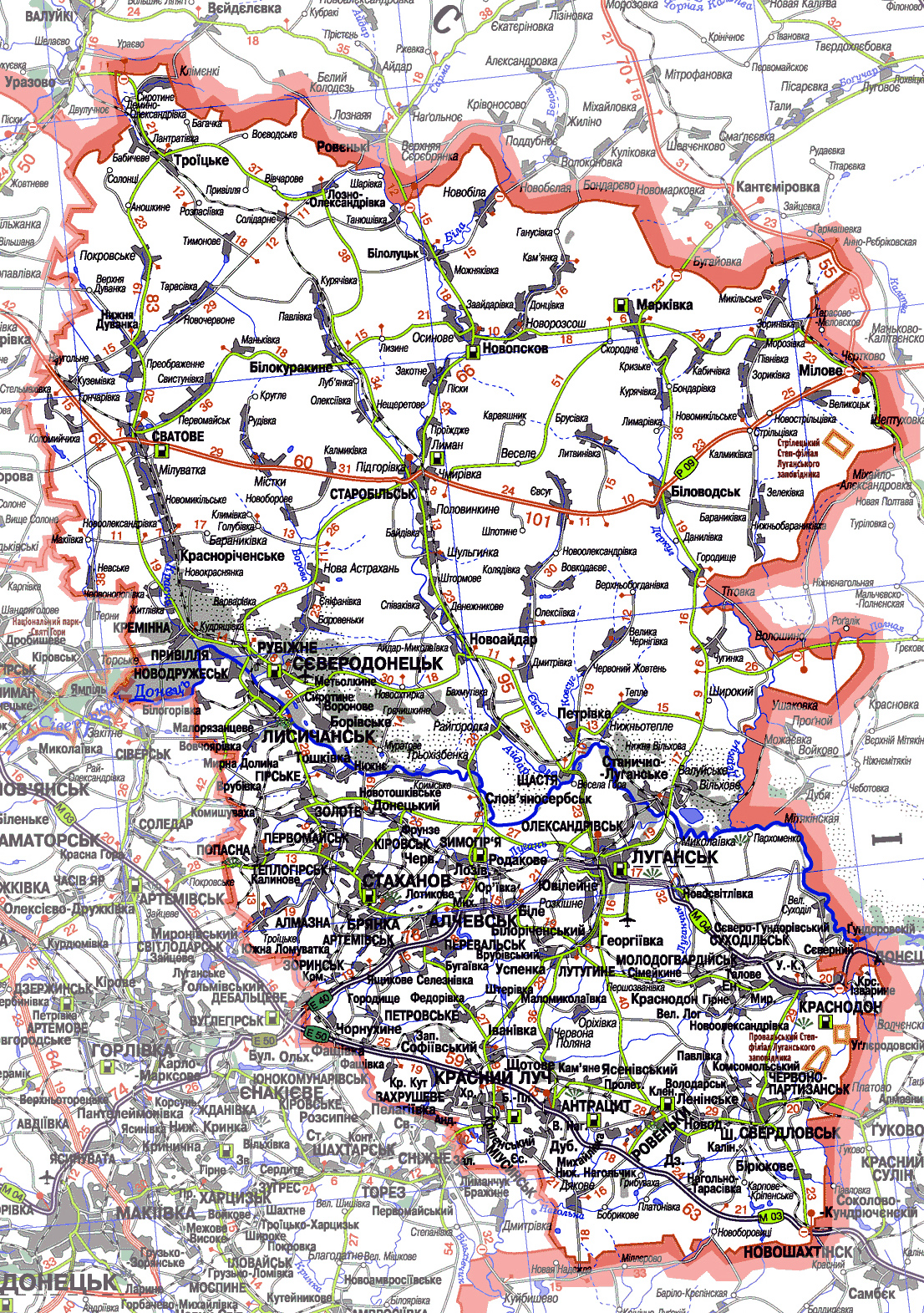 Карта Луганской области с городами