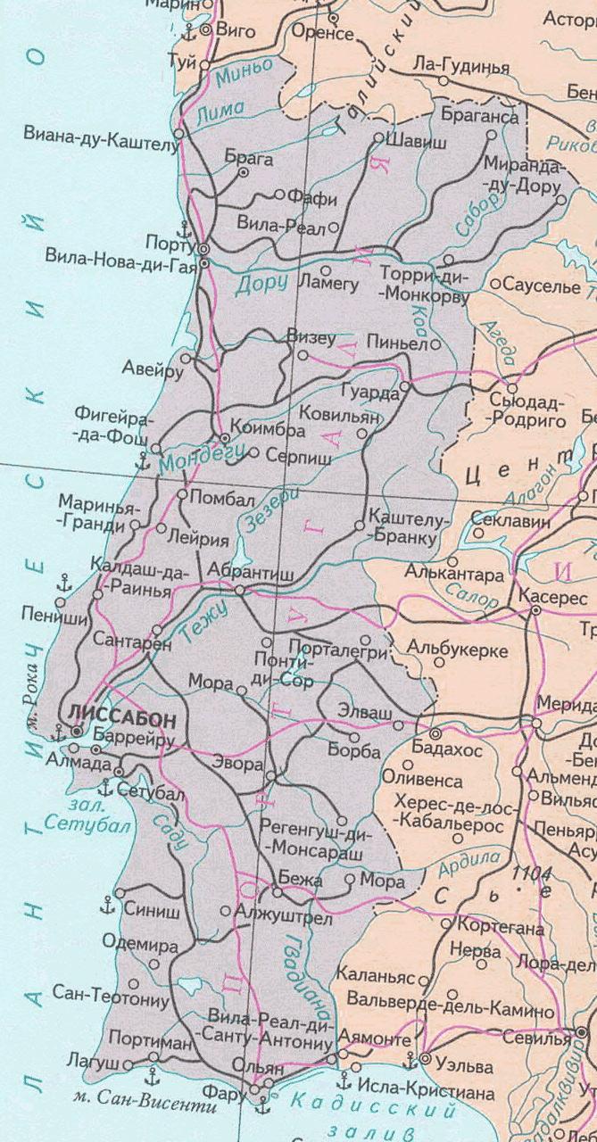 Карта Португалии с курортами