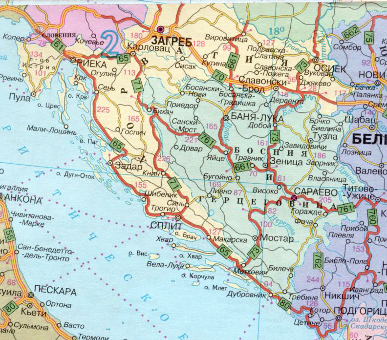 Карта Хорватии с курортами