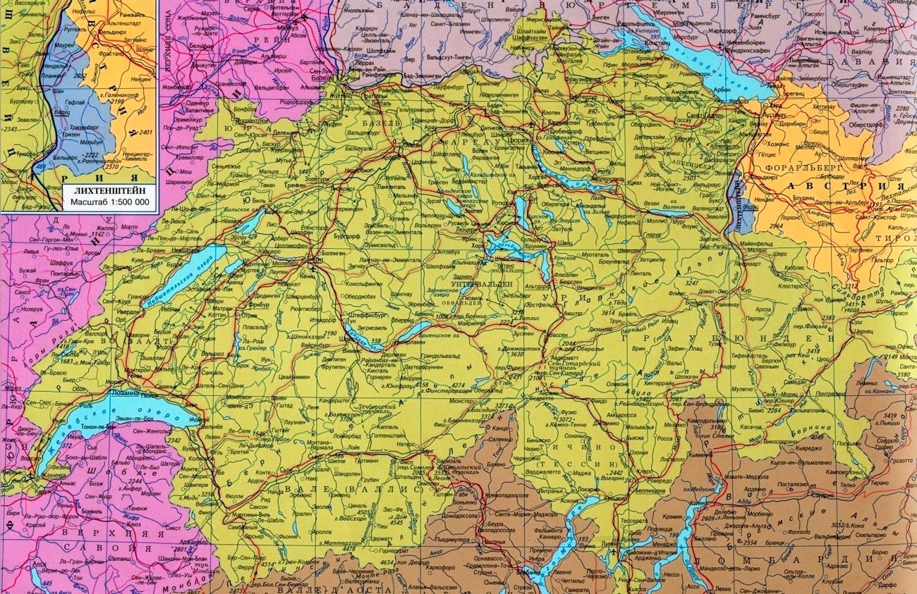 Карта Швейцарии с городами